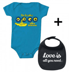 Cadeauset Beatles Baby Romper & Love is all you need Slabbetje