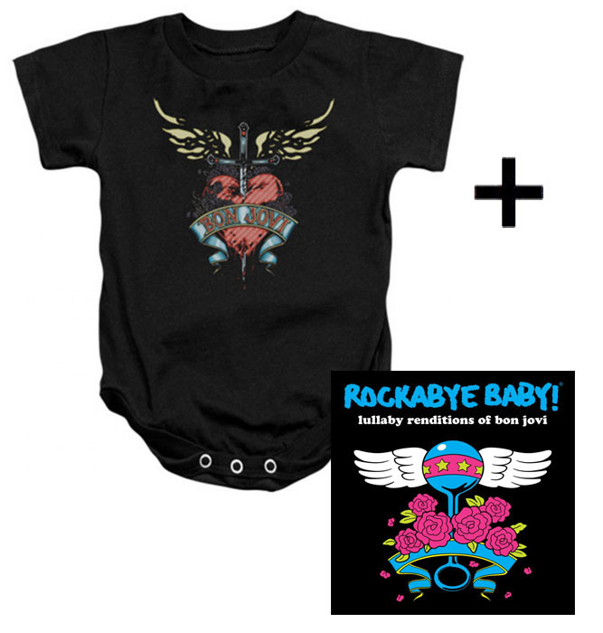 Cadeauset Bon Jovi Baby Romper Heart & Bon Jovi CD
