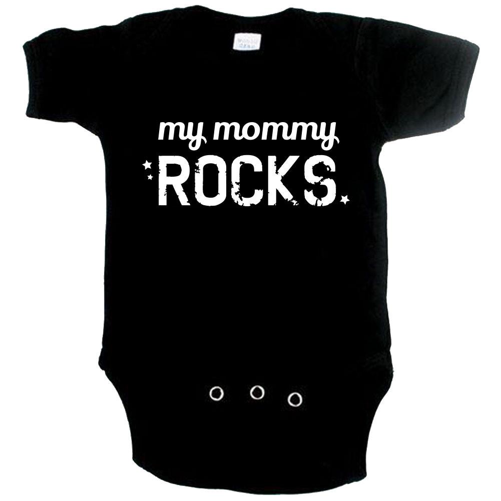 stoere baby romper my mommy rocks