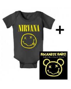 Cadeauset Nirvana romper baby Smiley & Rockabyebaby cd