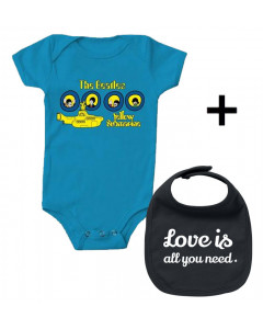 Cadeauset Beatles Baby Romper Portholes & Love is all you need Slabbetje