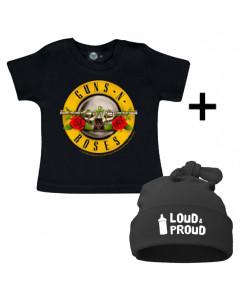 Cadeauset Guns n' Roses Baby T-shirt & Loud & Proud Muts